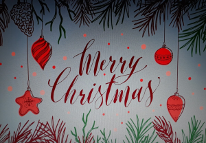 Sooner than Later Christmas card with red bauble design