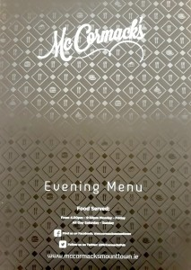 Menu print by Sooner than Later for McCormacks using Xerox Iridesse production press