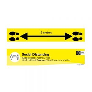 2 Metres COVID-19 Social Distancing Floor Sticker with vinyl anti-slip covering.