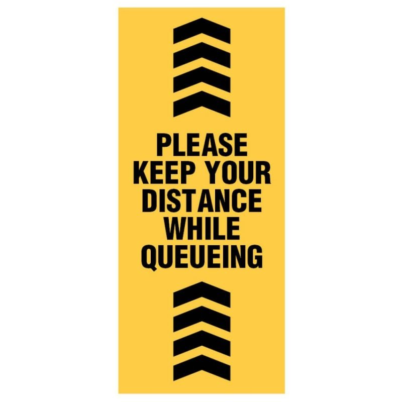 These Social Distancing Queueing Stickers help customers to keep their Distance while queueing. Vinyl anti-slip covering that's suitable for use on floors, tiles, cement floors, lino, and wooden flooring.