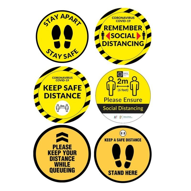 Circle Floor Stickers COVID-19. These floor stickers are coated with a non-slip finish and are ideal for wayfinding and reminding customers of social distancing.