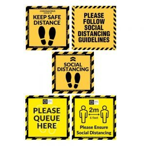 COVID-19 Square Floor Stickers