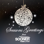 Christmas card from Sooner than Later with bauble & logo